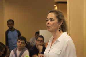 Fielding Questions: Victoria Hernandez, Governmental Relations Director and Head Lobbyist for the College, responds to a question from a student during a briefing session in the lobby of the Fairfield Inn & Suites by Marriott upon the group's arrival in Tallahassee. TOMÁS MONZÓN\THE REPORTER